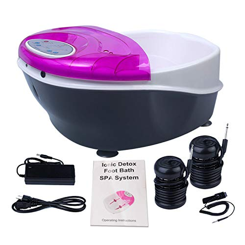 Ionic Detox Foot Bath SPA Machine Negative Hydrogen System Plus Panel Control + Massage Tub Basin 2 Arrays by Healcity