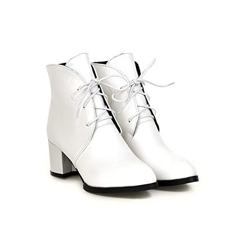 Imitated Chunky Heels Leather Bandage White Boots Square A amp;N Girls Heels twqAqp0x