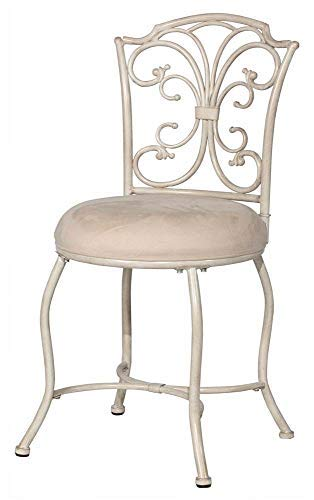 Hillsdale Furniture Vanity Stool in White and Gold Color