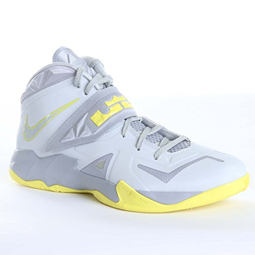 Nike Mens Zoom Soldier VII Basketball Shoes Pure Platinum/Wolf Grey/Sonic Yellow 599264-001 Size 10.5