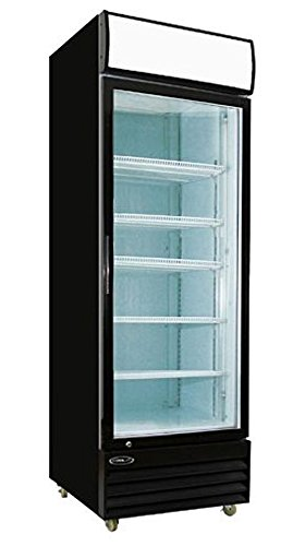 Empura EGM-23B 23 cubic feet One Swing Glass Door Merchandiser Refrigeratorouble Pane Glass Doors and Adjustable Shelves, Black Powder Coated Exterior -