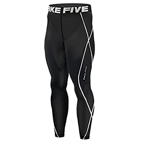 New 011 Take Five Skin Tights Compression Leggings Base Layer Black Running Pants Mens S - 3xl (2XL)