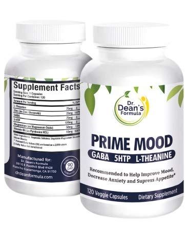 Dr. Dean's Formula: Prime Mood Amazing Triple Action New Formula 5HTP GABA L-THEANINE, Great to Improve Mood, Decrease Anxiety and Control Appetite. 120 Veggie ()