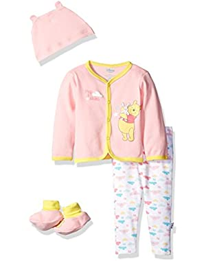 Baby Girls' Winnie the Pooh 4-Piece Bodysuit, Pant, Bib, and Bootie Set