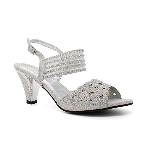 Femme Ouvertes London À L'arrière Footwear Silver qH4f4wI5
