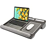 HUANUO Lap Desk - Fits up to 17 inches Laptop Desk, Built in Wrist Pad for Notebook, MacBook, Tablet, Laptop Stand with Tablet, Pen & Phone Holder (Black Woodgrain, Big)