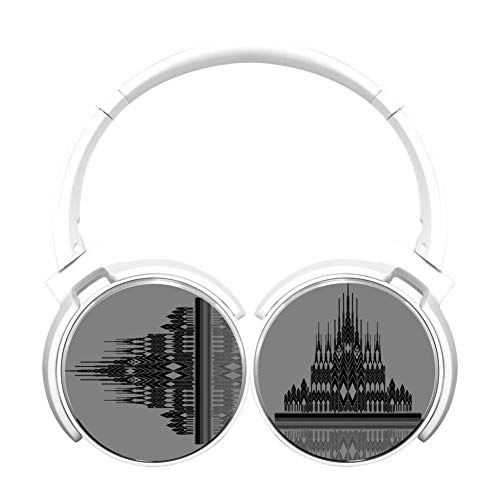 Geometric Mosaic Castle Bluetooth Headphones of Lightweight and Foldable White Wireless -