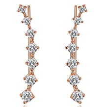 UMODE Jewelry Cartilage Tragus Bar Each with 7 Tiny Cubic Zirconia CZ Diamond Wrap Ear Cuff Earrings For Women