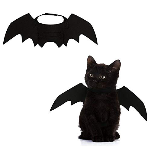 Albabara Halloween Pet Cat Dog Costume Adjustable Puppy Black Bat Vampire Wings Fancy Dress Costume Outfit Bat Wings for Cats Dogs -