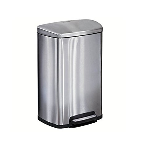 Tramontina Step on Waste Can, Stainless Steel Trash Can Step Can 13 Gallon Large Capacity (2 Trash Cans) (Tramontina Step Trash Can compare prices)