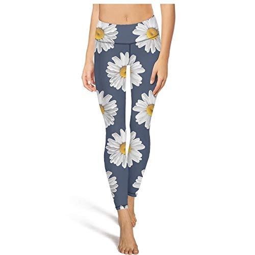Sports Leggings for Women Daisy Pattern on Navy Yoga Pants Biker Dance Legging