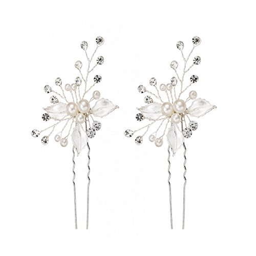 Hair Sticks Pins Jewelry (Bridal Hair Pin Stick with Hand-Painted Silver Leaves, Freshwater Pearl and Crystal Sprays also for Bridesmaids 2-Pack (Silvery))