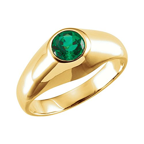 Yellow Gold Chatham Emerald Ring - 14K Yellow Gold Chatham Created Emerald Ring (Size 10)