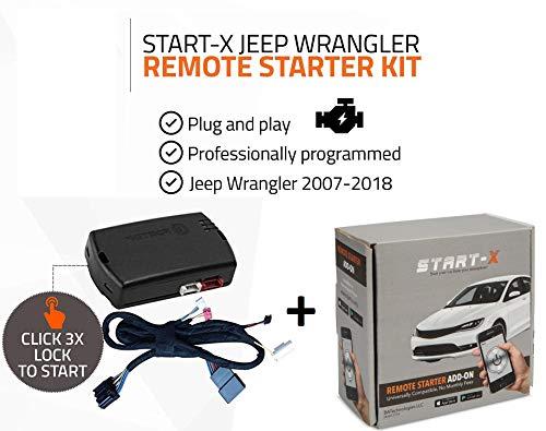 2013 Starter Kit - Start-X Remote Starter Kit for Jeep Wrangler Key Start 2007-2018 || Plug & Play || 3X Lock to Remote Start + Start-X WiFi Smart Phone Module || 10 Minute Install