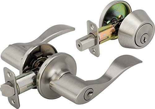 Style Entry Lock (Legend 809127 Wave Style Lever Front Door Knob Entry Leverset Lockset and Single Cylinder Deadbolt Combination Set, US15 Satin Nickel Finish)