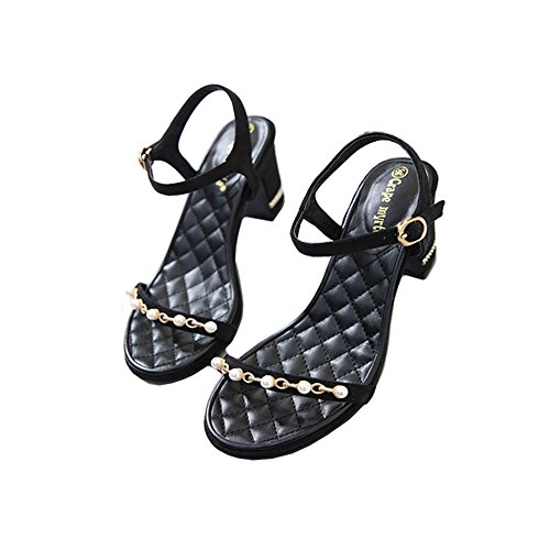 Sandals Black with Soles amp;W Leather Womens TPR H Heels Open Beads Micro Middle Toe 7CM 4znxRB