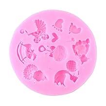 Mini Baby Shower Theme Silicone Fondant Sugar Chocolate Cake Mold Baking Tools, Pink