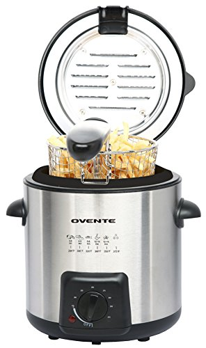 Ovente Deep Fryer with Removable Basket, Stainless Steel, Adjust Temperature Control, Non-Stick Interior, Personal Size (FDM1091BR) (Personal, Brushed)