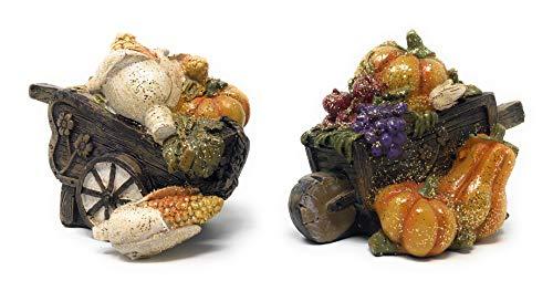 Hanna's Handiworks Set of 2 Tabletop Pumpkin Harvest Collection Cornucopia Basket Design 5 x 3.5 x 3 inches Each