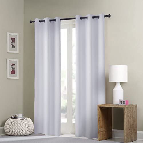 GIAERD Window Curtain Panels Wide 42 x Long 84 Inches,Blackout Thermal Insulated Solid Grommet Top Room Darkening Drapes for Sliding Glass Door,2 Panels,Silver White