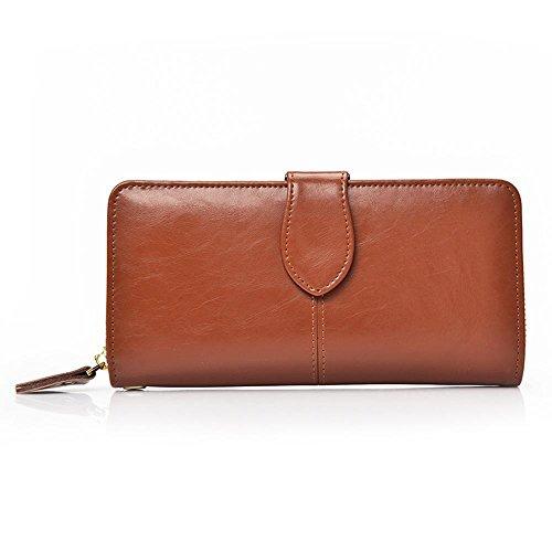 Aoligei Hommes de carte multi-sac main cuir grand portefeuille tenant sac business loisirs tête en cuir E