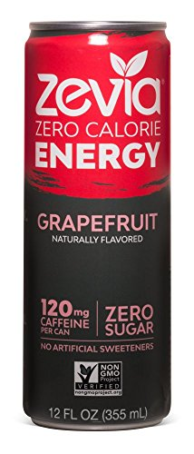 Zevia Zero Calorie Energy Drink Naturally Sweetened Energy Drink, Grapefruit, (12) 12 Ounce Cans; Grapefruit-flavored Caffeinated Beverage; Naturally Sweetened with No Sugar; Natural Caffeine