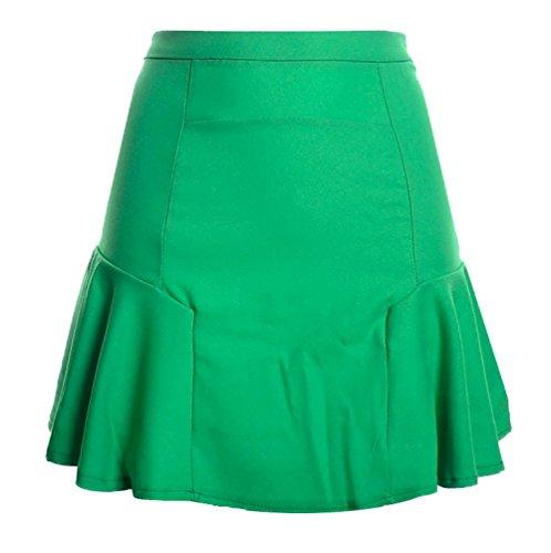 Fr?ulein Fox t Femmes Casual Couleur Unie Mini Jupe de Cocktail Soire Mode Haute Taille Ajoure Jupes de Plage Vert Fruit