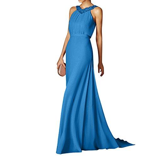 Chiffon mia Ballkleider Elegant La Neckholder Sommer Partykleider Blau Kleider Festlichkleider Lang Braut Abendkleider TqpdxxEY