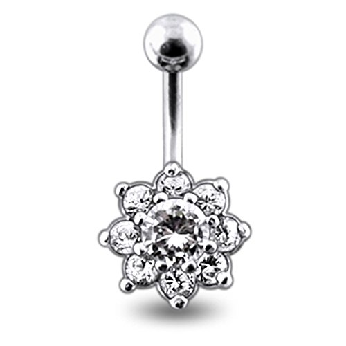 Clear CZ Stone Fancy Studded Flower 925 Sterling Silver with Grade 23 Solid Titanium Navel Button Ring