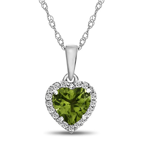 Finejewelers 10k White Gold 6mm Heart Shaped Peridot with White Topaz accent stones Halo Pendant ()