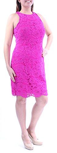 (LAUREN RALPH LAUREN Womens Lace Sheath Casual Dress Pink 12)