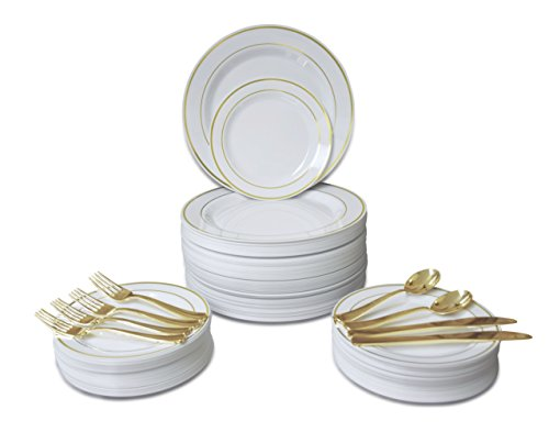 """ OCCASIONS "" 720 PCS / 120 GUEST Wedding Disposable Plastic Plate and Silverware Combo Set , (White / Gold Rim plates, Gold silverware)"