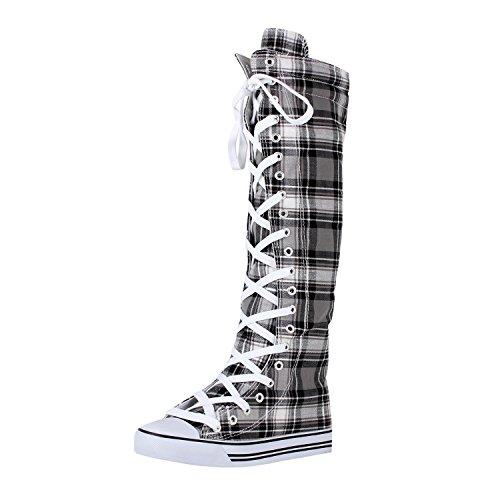 West Blvd Womens Sneaker Kniehohe Schnürstiefel Graues Karomuster
