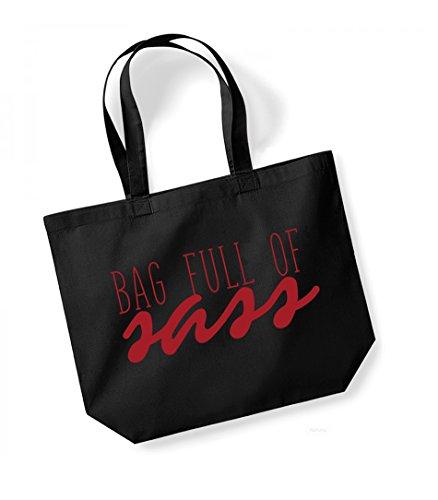 Bag Full of Sass - Large Canvas Fun Slogan Tote Bag Black/Red