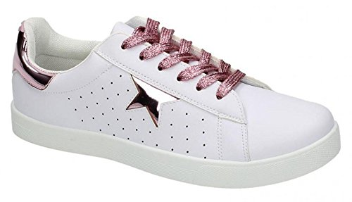 Punto Sulle Scarpe Da Skate In Pelle Sintetica Da Donna Bianco / Rosa