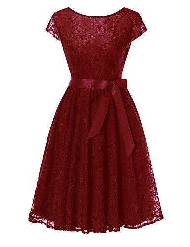 donna tubino formale nbsp;Solid abito Colored Bow SHAUIGUO nbsp;– S sera da sofisticato Lace semplice WIwRwq1nF