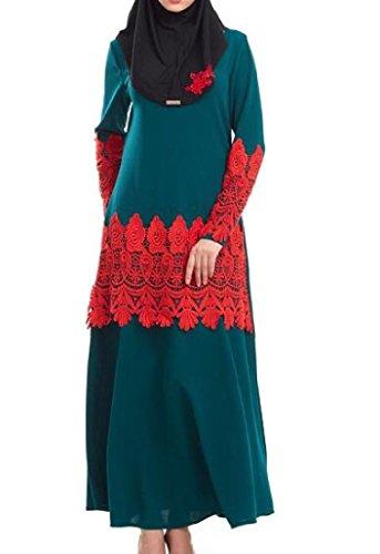 Les Femmes Confortables Musulmans Abaya Dentelle Palangre Dinde Longue Vert Robe À Manches