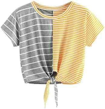 c8353b588bd030 Triskye Women Fashion Casual Short Sleeve O-Neck Stripe Tee Bow Bandage Blouse  Tops T