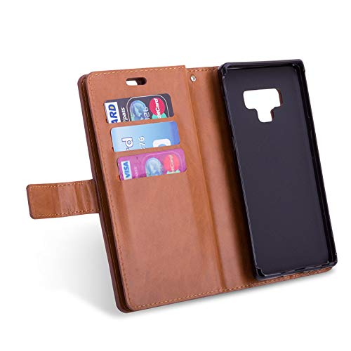 Multifunction Credit with Phone Pocket Handbag Case Strap Money Retro Magnetic Card Wallet Cover Hand Galaxy MeiLiio Phone Brown Note Women Zipper for Slots Case 9 Brown 9 for Samsung Cover Note 1wxvX6q