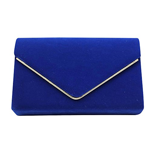 Suede Bag Clutch Blue Cckuu Envelop Navy Wedding Royal Handbag Purse Womens Faux Evening Blue Party w0xXB4Ex
