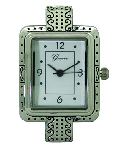 Fashion Watch Wholesale Geneva Silver Holes Square Watch Face with Design with Beading Holes