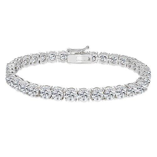 Sterling Silver 5mm Created White Sapphire Round-cut Tennis Bracelet by GemStar USA