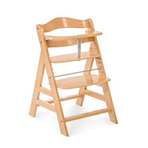 Hauck High Chair - Hauck Alpha+ Wooden Height Adjustable Highchair with 5 Point Harness - Natural
