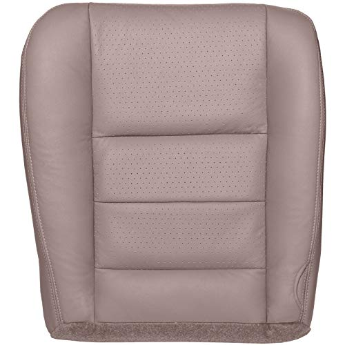 The Seat Shop Driver Bottom Replacement Perforated Leather Seat Cover - Medium Parchment Tan (Compatible with 2002-2004 Ford F250 and F350 Lariat Crew Cab)