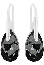 Sterling Silver Made with Swarovski Crystals Black Grey Teardrop Pierced Earrings for Women