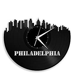 VinylShopUS - Philadelphia Vinyl Wall Clock City Skyline Retro Decor