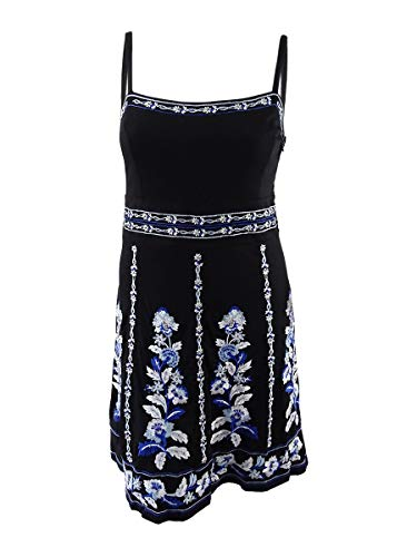 INC International Concepts Women's Embroidered Dress (XL, Blossoming Lanes) Black -