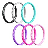 Best Rings Golds - Egnaro Silicone Wedding Rings for Women-6 Rings Pack-Black Review