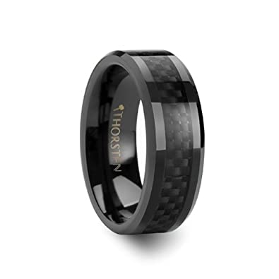 onyx black carbon fiber inlaid black ceramic wedding band 8 mm