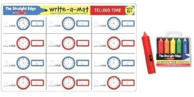 Melissa & Doug Telling Time Learning Place Mat with Wipe-Off Crayons